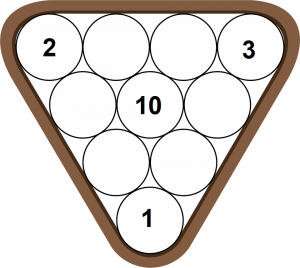 pool ball position for 10 ball game