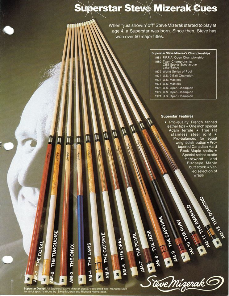 Steve Mizrak Adam pool cues