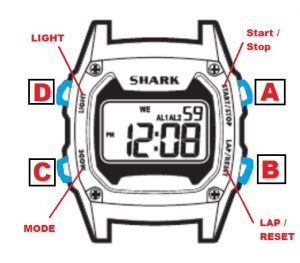 how to set time on shark watch
