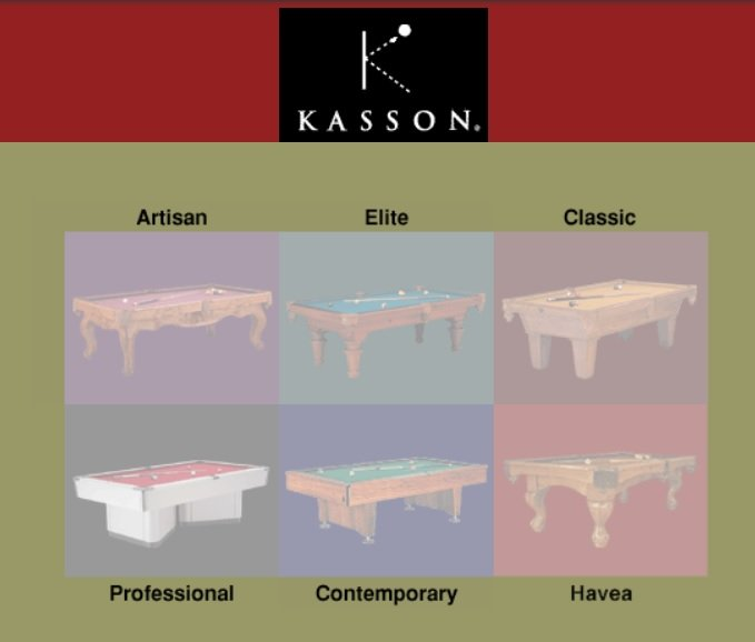 kasson pool tables categories