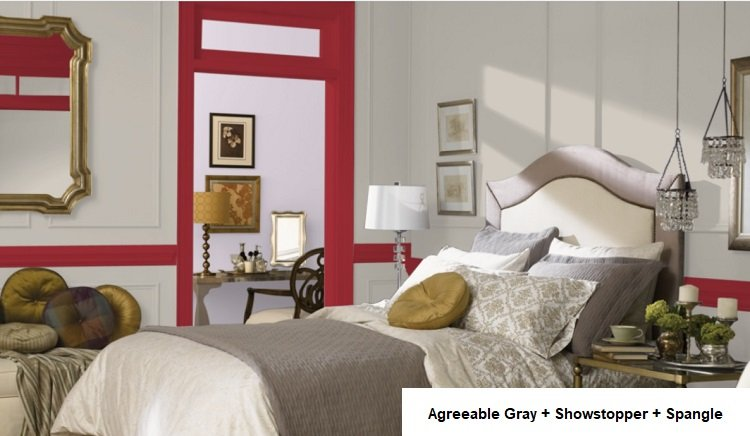 AGREEABLE GRAY AND showstopper and Sangle in background room